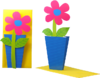 3D Flower Card Pink Flower in blue Pot